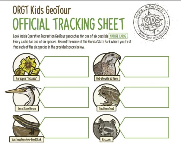 Florida State Parks has geocache tracking sheets, including one for children.