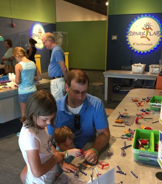 The Smithsonian Spark!Lab is a hands-on, interactive exhibit for families and children.