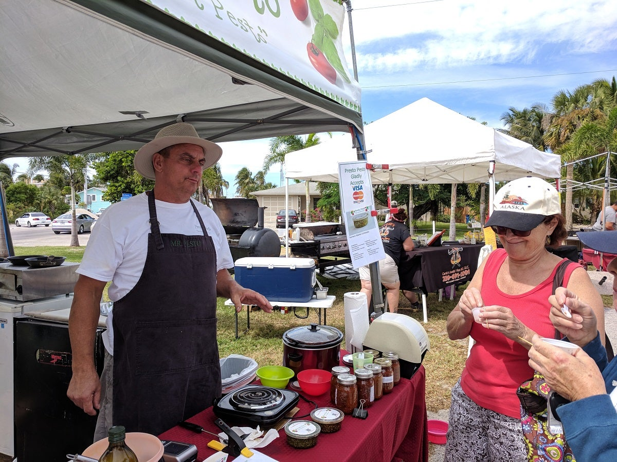 Farmer's Market selling pesto pizza